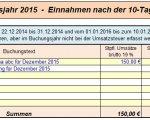 10-Tage-Regel Einnahmen - EÜR-Tabelle