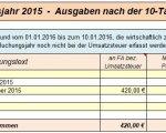 10-Tage-Regel Ausgaben - EÜR-Tabelle